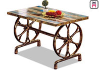 4ft*2ft Plywood / Cast Iron Table Base Industrial Style Coffee Table With Wheel Design
