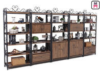 Custom Metal Wood Loft Style Shelving Classical Carving With Drawer Rustic Storage
