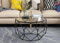 Gold / Black / White Stainless Steel Coffee Table Galaxy Hollowed - Out Hexagon Design
