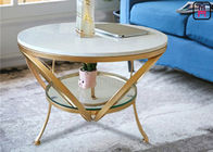 Glass Coffee Table Gold Frame , Modern Round Glass Coffee Table For Bar / Hotel