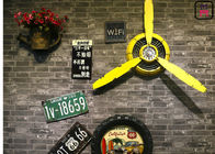 Metal Three Propeller Blades Restaurant Wall Decor Yellow Vintage Art Decoration For Bar Club