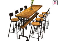 Solid Wood Top Restaurant Bar Tables Tube Design Base With Comfotable Footrest