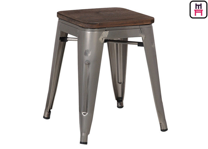 Custom Color Tolix Style Bar Stool , Coffee Shop Tolix Chair Wooden Seat