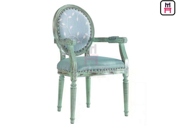 Classical Luxury Arm Metal Restaurant Chairs Aluminum Frame Round Back For Wedding
