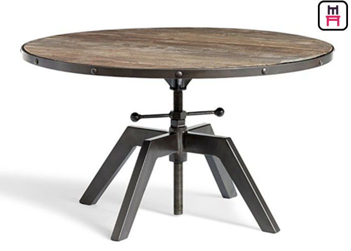 Plywood Metal Base Adjustable Height Dinning Table Industrial Style For Cafe / Hotel