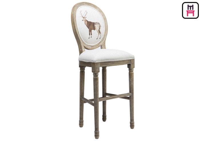 Classical Royal Round Back Bar Stool Fabric Lether Solid Wood For High Luxury Restsaurant