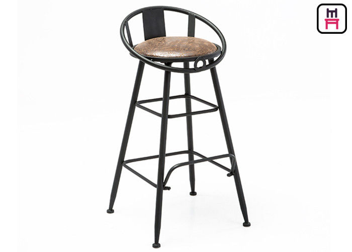 Backrest Commercial Metal Bar Stools With Leather Seats / Hollowed - Out Design