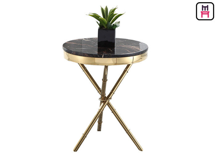 Crossed Triangle Base Coffee Table Round Modern , High End Coffee Tables Living Room