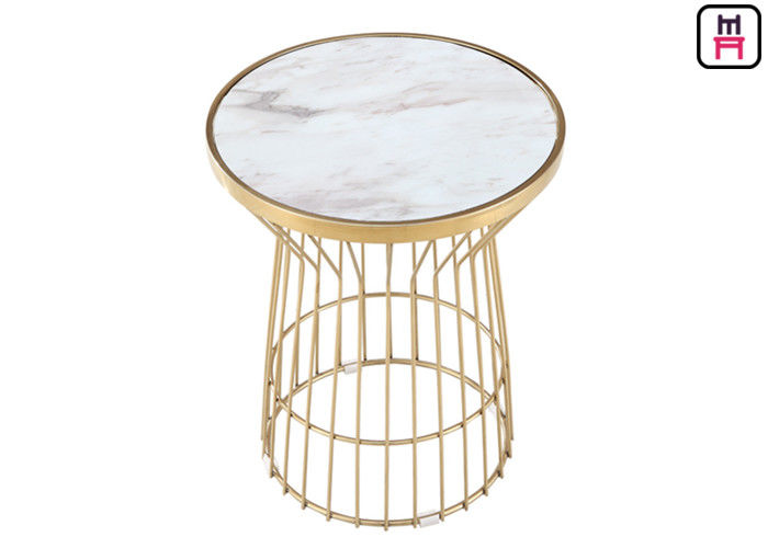 Gold Vertical Moulding Frame Stainless Steel Coffee Table Commercial Indoor Furniture