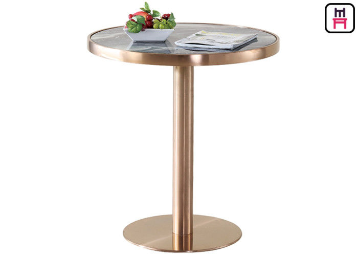 Coffee House / Home Classical Bar Height Pub Table With Gold Stainless Steel Base