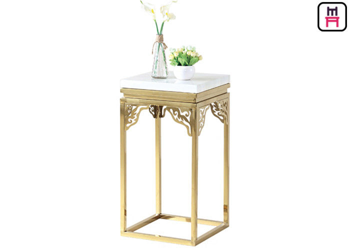 Elegant Square Marble Stainless Steel Coffee Table Carving Corner Flower Stand