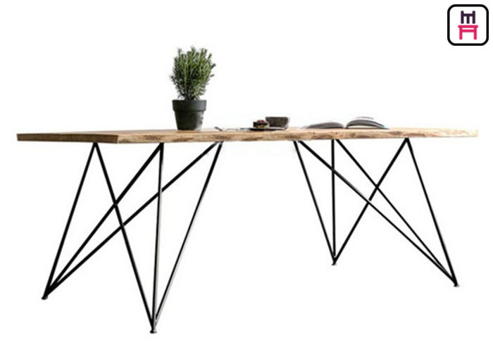 Base Solid Wood Commercial Restaurant Tables With Geometric Rose Gold Metal Frame
