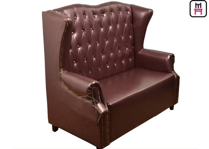 High Back Luxury Classical Commercial Booth Seating With Armrest / Button Design