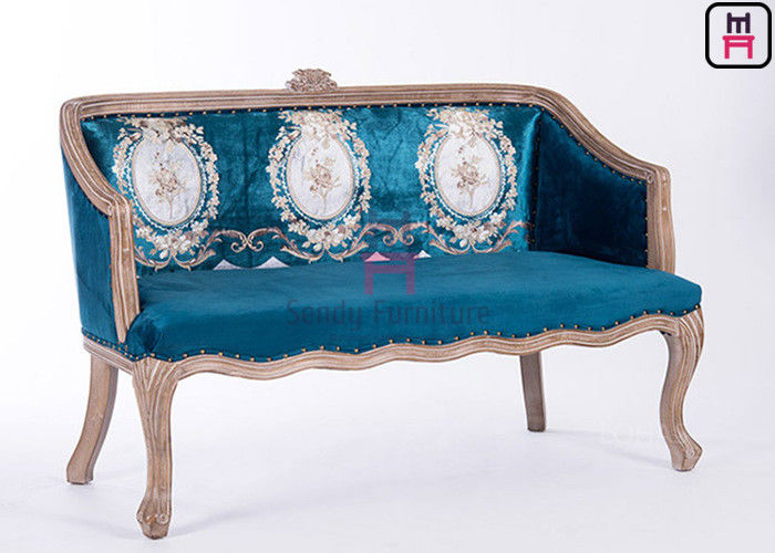 Classical Carving Luxury Booth Bench Seating Solid Wood For  Wedding