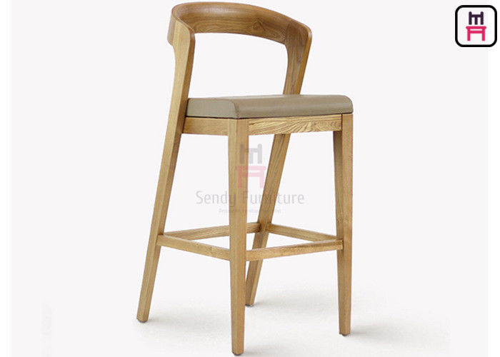 Solid Wood Restaurant Bar Stools , Leather High Back Bar Stools 0.4cbm Volume