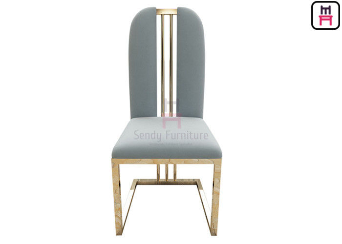 Rose Golden High Back Dining Chairs Velvet Seat W48 * D42 * H103cm Without Arm