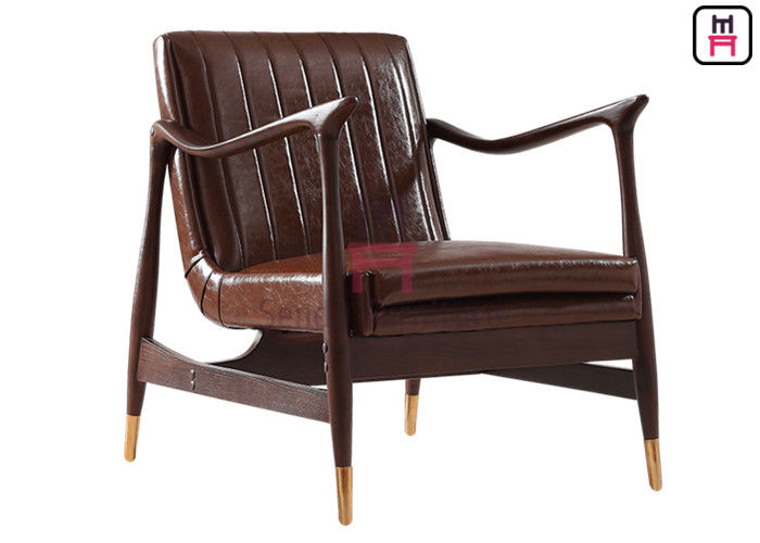 Brown Leather Single Sofa Chair Ash Wood Frame With Copper Feet 73 * 68 * 85cm