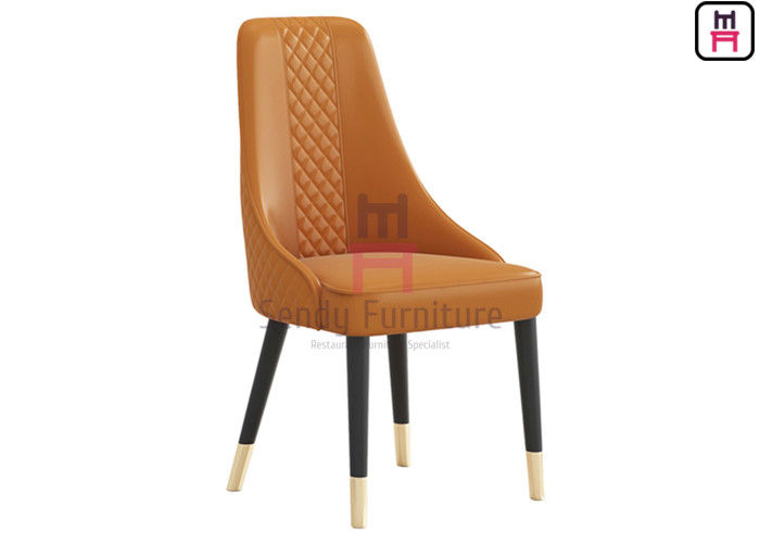 Custom Wood Restaurant Chairs Tufted Upholstered Micro Fiber Leather Armless Type High Back