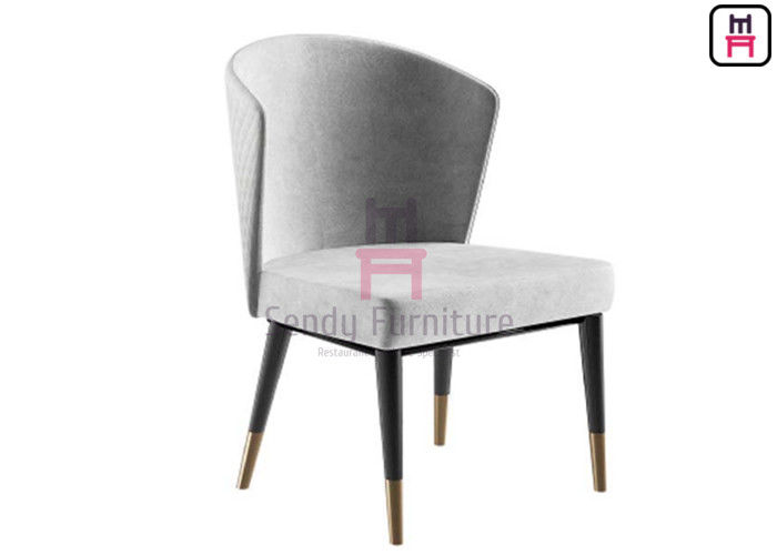 Fan Shapped High Back Dining Room Chairs Curved Backrest Fabric Armless With Copper Feet