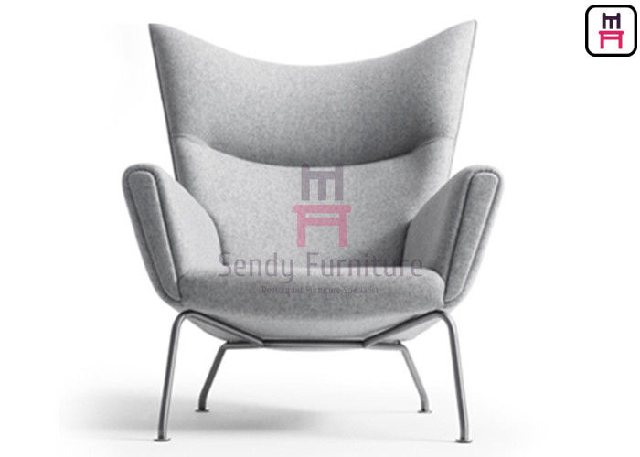 Stainless Steel Base Fiberglass Dining Chair Upholstered Cashmere / Leather Wing Lounge Type