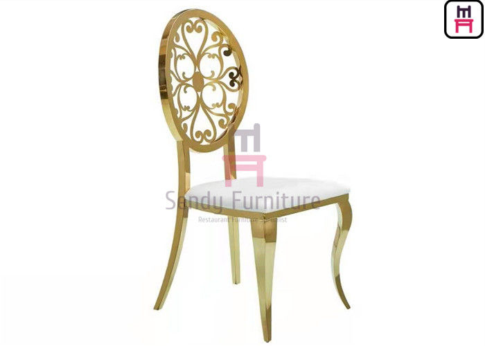 Rose Gold Stainless Steel Chairs Hollowed - Out Round Back With Vintage Pattern