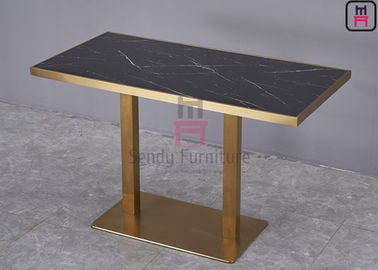Stainless Steel Rose Golden Restaurant Dining Table Luxury Marble Top with Golden Seam
